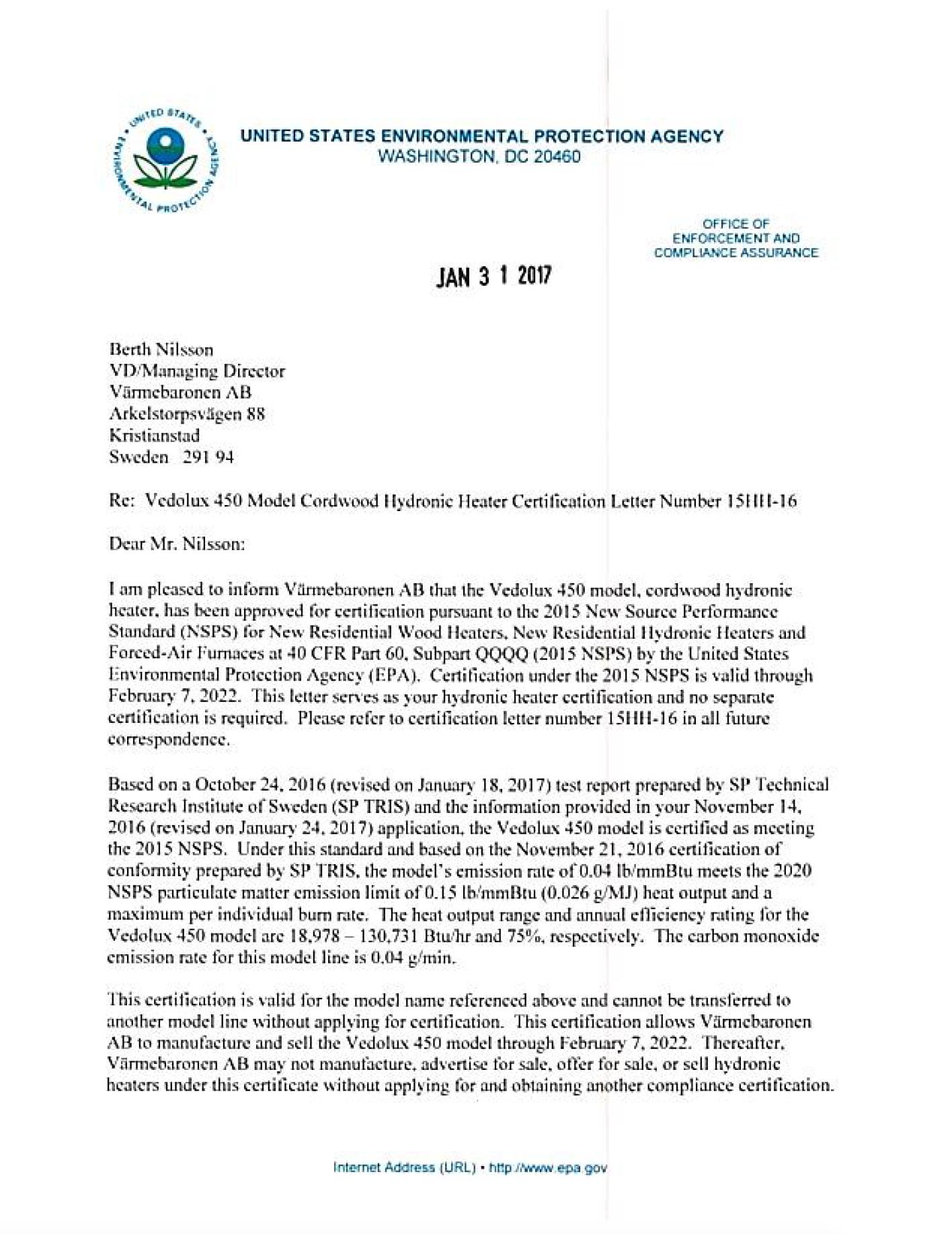 Epa Approval Letters Smokelessheat Website
